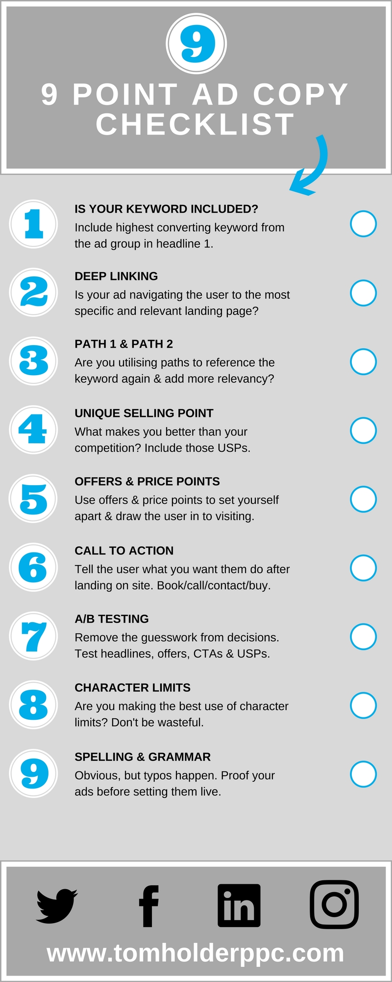 9 Point Ad Copy Checklist Infographic
